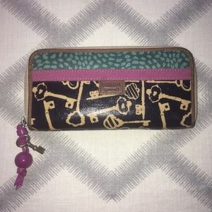FOSSIL Continental Key Wallet Navy Fuschia Teal